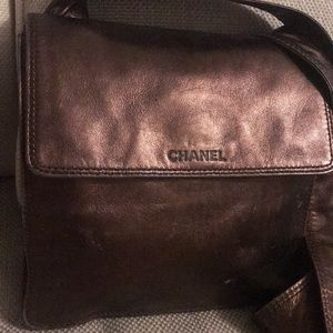 Auth Chanel Lambskin Leather Crossbody bag